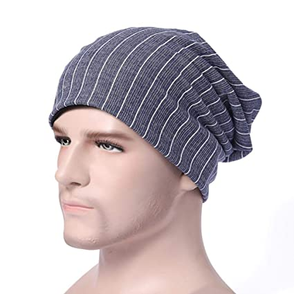 bf153a4640e Image Unavailable. Image not available for. Color  SUKEQ Unisex Slouchy  Baggy Beanie Hat Cotton Knit Striped Skull Cap Snow Ski Cap Hip Hop