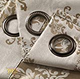 """Cheap Luxury Jacquard Room Darkening Semi Blackout 250 GSM Grommet Window Curtains, Silky Double-Faced Fabric, Two Free Tie Backs, 2 Panels Total Wide 104"""" (Each Panel 52"""" x 95"""" Butter Cream Classic)"""