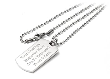 Personalised luxury dog tag pendant identity necklace engraved personalised luxury dog tag pendant identity necklace engraved enter your custom text aloadofball Gallery