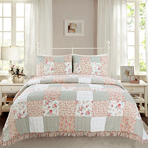 Cozy Line Home Fashions Dreamy Rose Bedding Quilt Set, Light Coral Tiffany Green 3D Chic Lace Floral 100% Cotton Reversible Coverlet, Bedspread, Gifts for Girls Women (Queen - 3 piece) (Lace Tiffany)