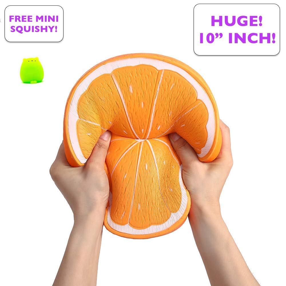 Simplistic Plus Jumbo Squishy Slow Rising Orange - Fully Textured and Detailed Fruit, Huge and Smells Yummy Too - Squishies are Ideal Stress Relief Toys and May Ease Anxiety