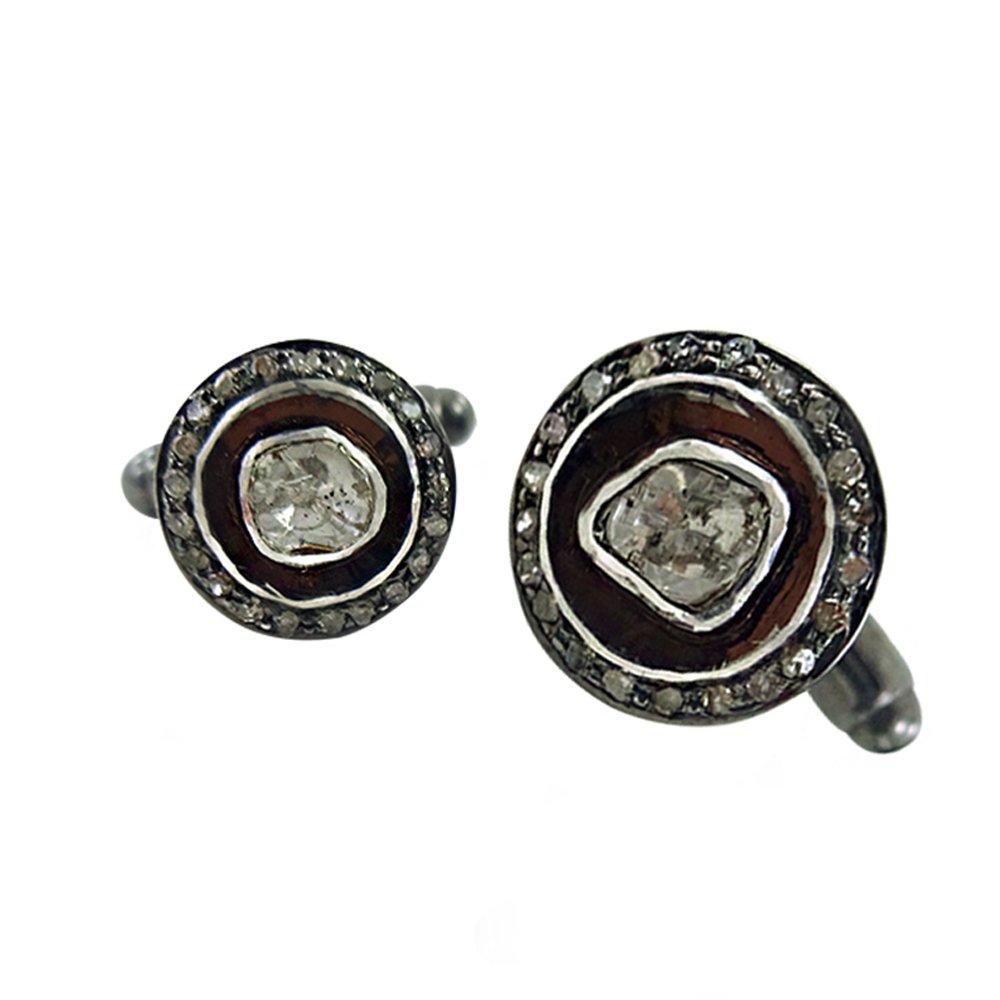 Rose Cut Diamond Cuff links 925 Silver Pave Diamond Men's Wedding Jewelry Cufflinks