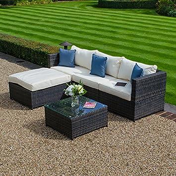 Zebrano - jardín al aire libre 3 Asiento Sofá Set con mesa de café y ...