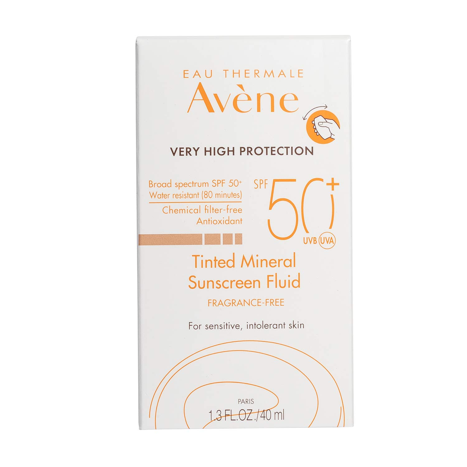 fc0b58c44b38 Amazon.com: Eau Thermale Avene Tinted Mineral Fluid Sunscreen, Broad  Spectrum SPF 50+, UVA/UVB Blue Light Protection, Water Resistant,  Non-Greasy, 1.3 oz.
