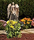 YK Decor Garden Metal Angel Trellis - Antique Patina 25.5in Height