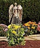 YK Decor Garden Metal Angel Trellis - Antique Patina 25.5in Height