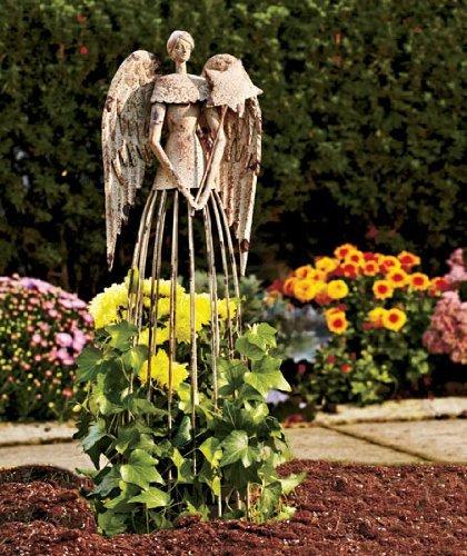 YK Decor Garden Metal Angel Trellis - An - Patio Iron Garden Statues Shopping Results