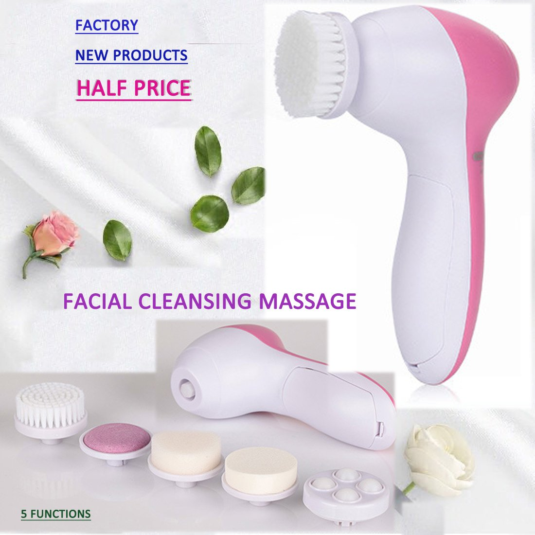 Facial Cleansing Brush Care Massager Skin Microdermabrasion Exfoliator Blackheads Body Beauty Multifunction Portable Batteries not included