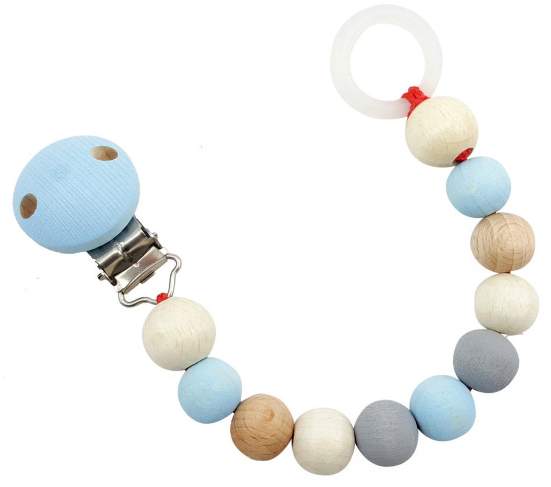 Hess 13717 - Holzspielzeug, Schnullerkette aus Holz, nature blau Hess Holzspielzeug