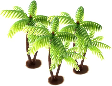Amazon Com Plastic Coconut Palm Tree Miniature Leaf Fake Plant Pots Bonsai Craft Micro Landscape Artificial Plants Para Decoration 5pcs Home Kitchen