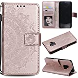 Galaxy S9 Plus (S9 +) Floral Wallet Case,Galaxy S9 Plus (S9 +) Strap Flip Case,Leecase Embossed Totem Flower Design Pu Leather Bookstyle Stand Flip Case for Samsung Galaxy S9 Plus (S9 +)-Rose Gold