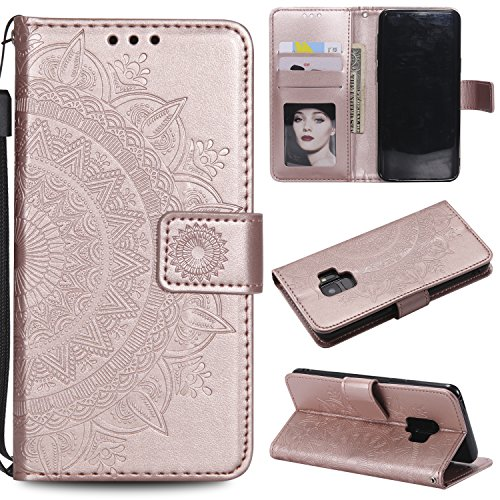 Galaxy S9 Floral Wallet Case,Galaxy S9 Strap Flip Case,Leecase Embossed Totem Flower Design Pu Leather Bookstyle Stand Flip Case for Samsung Galaxy S9-Rose Gold by Leecase