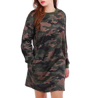1c136086884 La Modeuse - Robe pull courte à imprimé militaire taupe et kaki ...