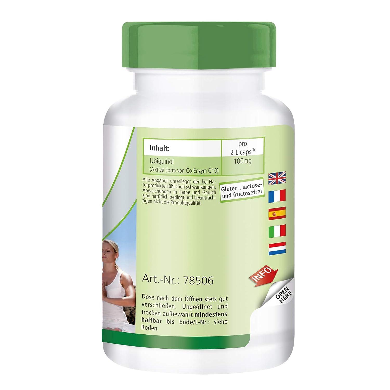 Ubiquinol 50mg - 60 Licápsulas Kaneka QH - coenzima Q10 activa - ¡Calidad Alemana garantizada!: Amazon.es: Salud y cuidado personal