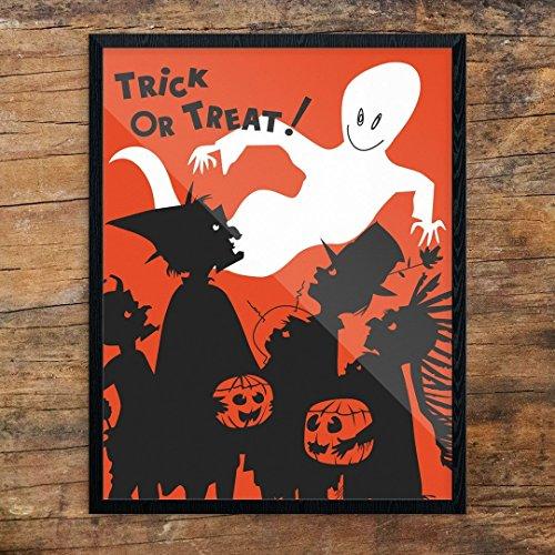 Fridgedoor Halloween Trick or Treaters & Ghost Print -