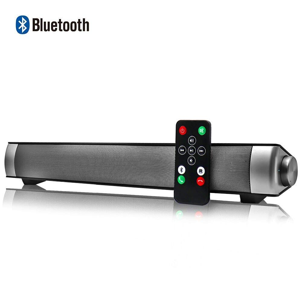 Altavoces Bluetooth PC, Barra de Sonido para TV Mini Soundbar Bluetooth 4.2 Inalambricos con Cables RCA/AUX/USB,Plata, 15.7 Pulgadas