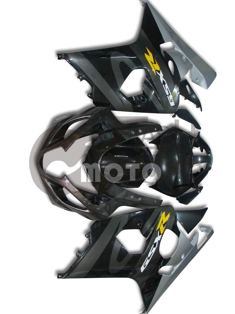 FlashMoto suzuki 鈴木 スズキ GSX-R600 GSX-R750 K4 2004 2005用フェアリング 塗装済 オートバイ用射出成型ABS樹脂ボディワークのフェアリングキットセット (ブラック,シルバー)   B07M9KRCPY