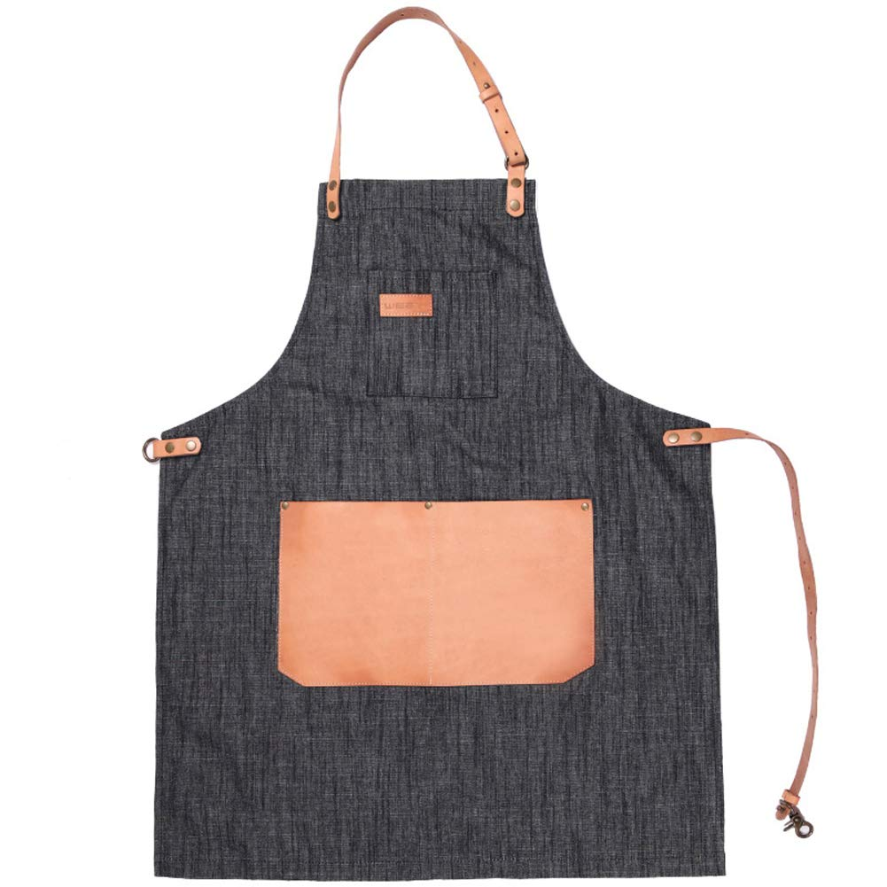 Denim Apron for Men with Pocket Leather Strap Ladies Work Kitchen Apron Adult Bibs for Gardener Waiter Barista Uniform,Black