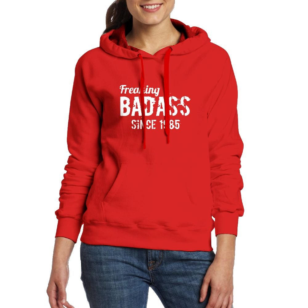 DADALING Freaking Badass Since 1985 Womens Black Long Sleeve Drawstring Hoodie Pullover With Pocket