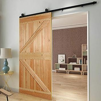 201CM/6.6FT puertas acero puerta corrediza de granero Hardware Herraje para Puerta de Granero Corredera de Perchas en forma de T: Amazon.es: Bricolaje y herramientas
