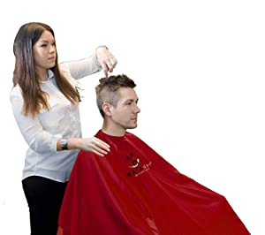 """Nylon Salon Cape – Water And Stain Resistant Apron With Adjustable Snap Closure For Hairstylists, Hairdressers and Barbers – Easy Clean, Hanging Loop, 50"""" x 60"""" - HairDay Care (Red)"""