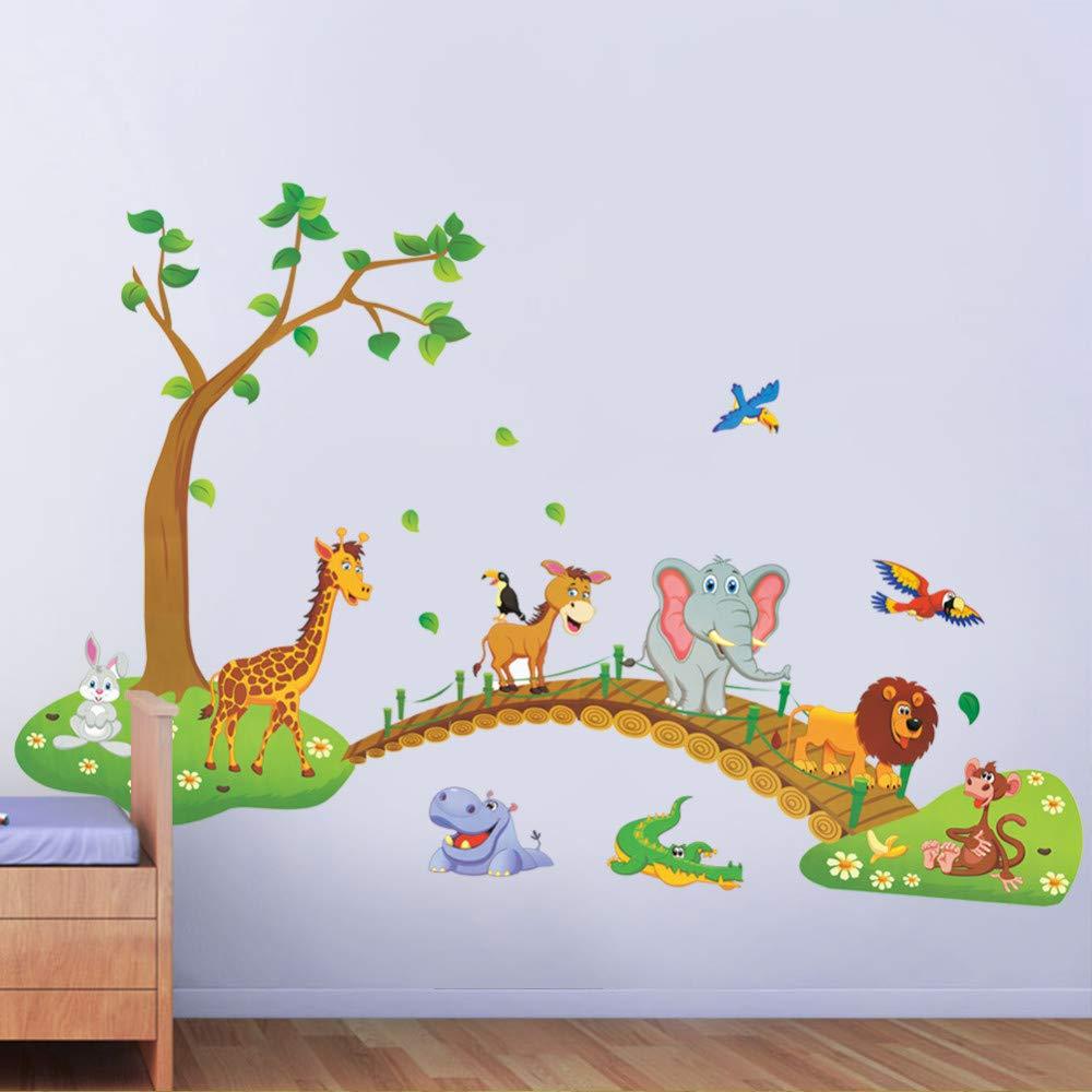 Ruluti 1pc del Fumetto 3D Giungla Selvaggia Animale Albero Lionbridge Giraffe Elephant Uccelli Fiori Muro Adesivi Camera Bambini Living Room Home Decor