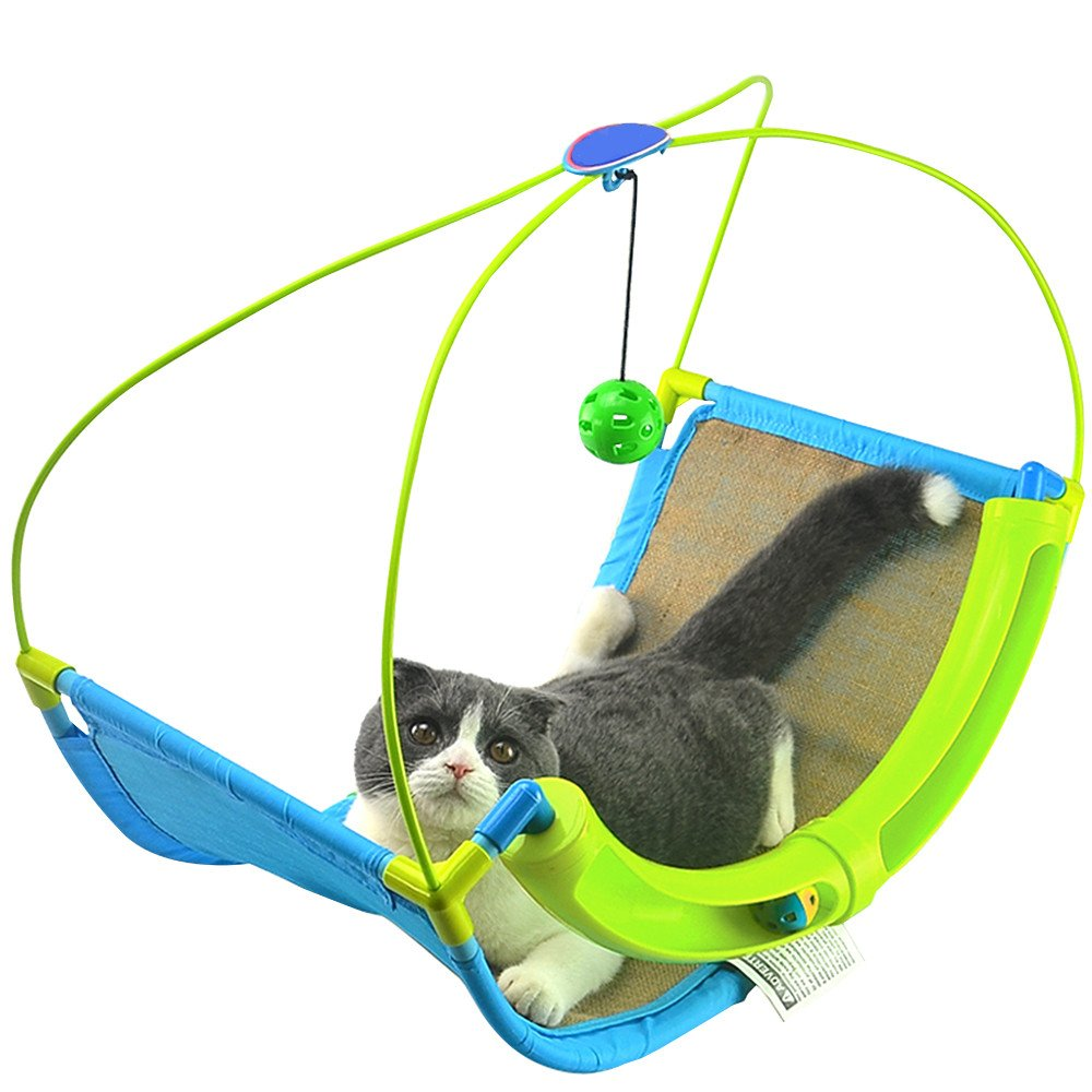 ANG Cat Rocking Roller Cradle Bed with Scratching Pad and Bells (1 Scratching Bed)