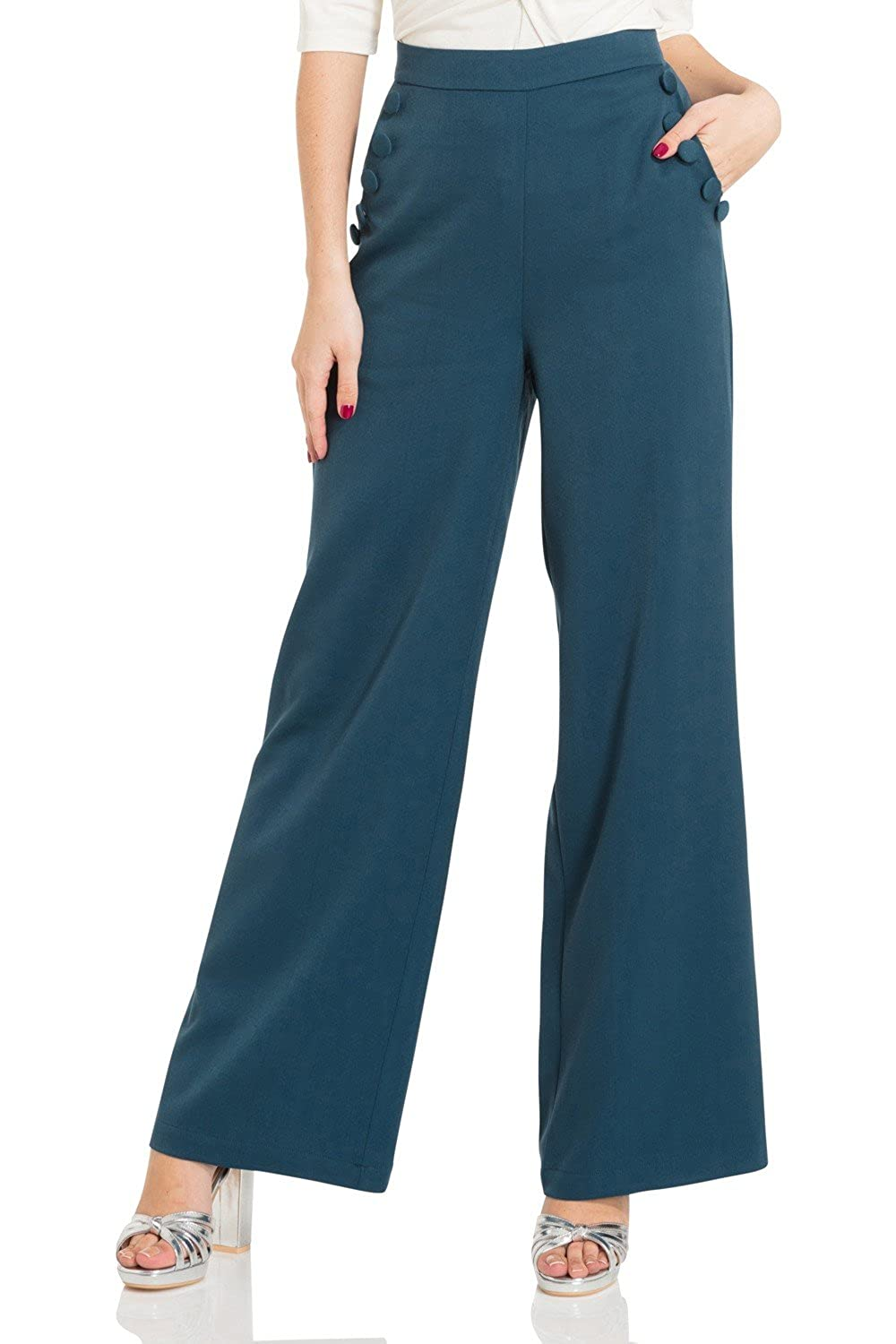 Vintage High Waisted Trousers, Sailor Pants, Jeans Voodoo Vixen Sara Retro 40s 50s Vintage High Waist Wide Leg Trousers £34.99 AT vintagedancer.com