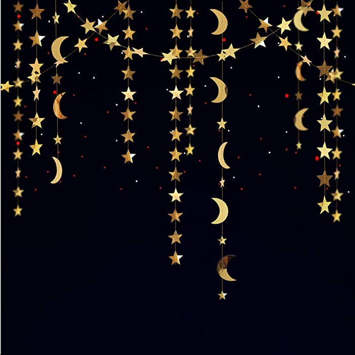 Decor365 Gold Star Moon Garland Kit Hanging Garands Streamers Bunting Banner Decor Wall Ceiling Party Decorations for Twinkle Little Star First Birthday/Baby Shower/Wedding//Kids Room/Nursery/Ramadan