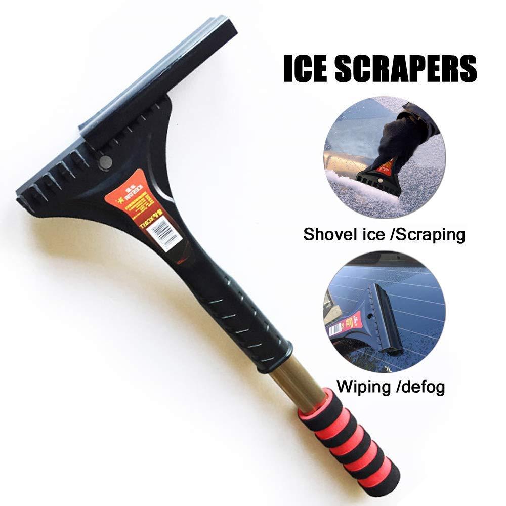 KJLM Ice Scraper Mitts for Car Mitt Windscreen Scraper with Glove Windshield Snow Scrapers with Waterproof Warming Thick Fleece Elastic (Black)