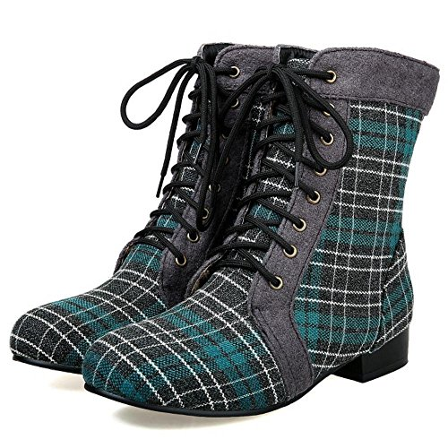 Mid Heel Boots Stripes With Lace Up Western COOLCEPT Calf Women Low Green q6t87Y