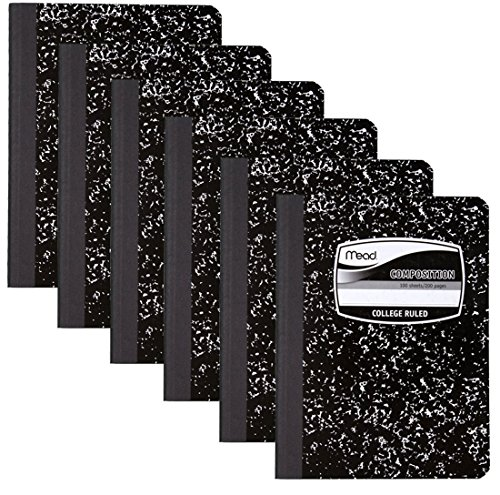 Mead 9932 Square Deal Composition Book, 100-Count, College Ruled, Black Marble (09932) 6 Pack