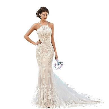 Fenghuavip Elegant Halter Ivory Lace Long Train Bridal Beach Wedding