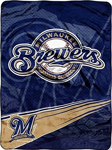 Milwaukee Brewers Bedding - The Northwest Company Officially Licensed MLB Milwaukee Brewers Speed Plush Raschel Throw Blanket, 60