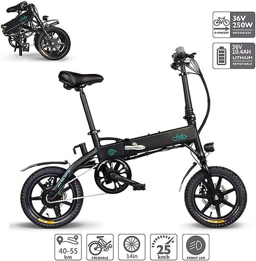 Bicicleta Electricas Plegables, Bicicleta Eléctrica Plegable con Soporte para Teléfono USB Batería De Iones De Litio (36V 250W 10.4AH) Motor Sin Escobillas, Eléctrico Puro 40-55Km,Negro: Amazon.es: Hogar