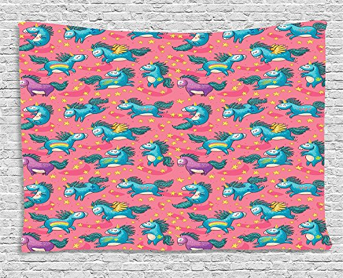 Magic Mythical Flying Unicorns with Wings Rainbows and Stars Pattern Nursery Themed Girls Multi Supersoft Throw Fleece Blanket 59.05