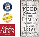 P. GRAHAM DUNN Bless The Food, Family Love Small Fence Post Wood Look Wall Art Plaque