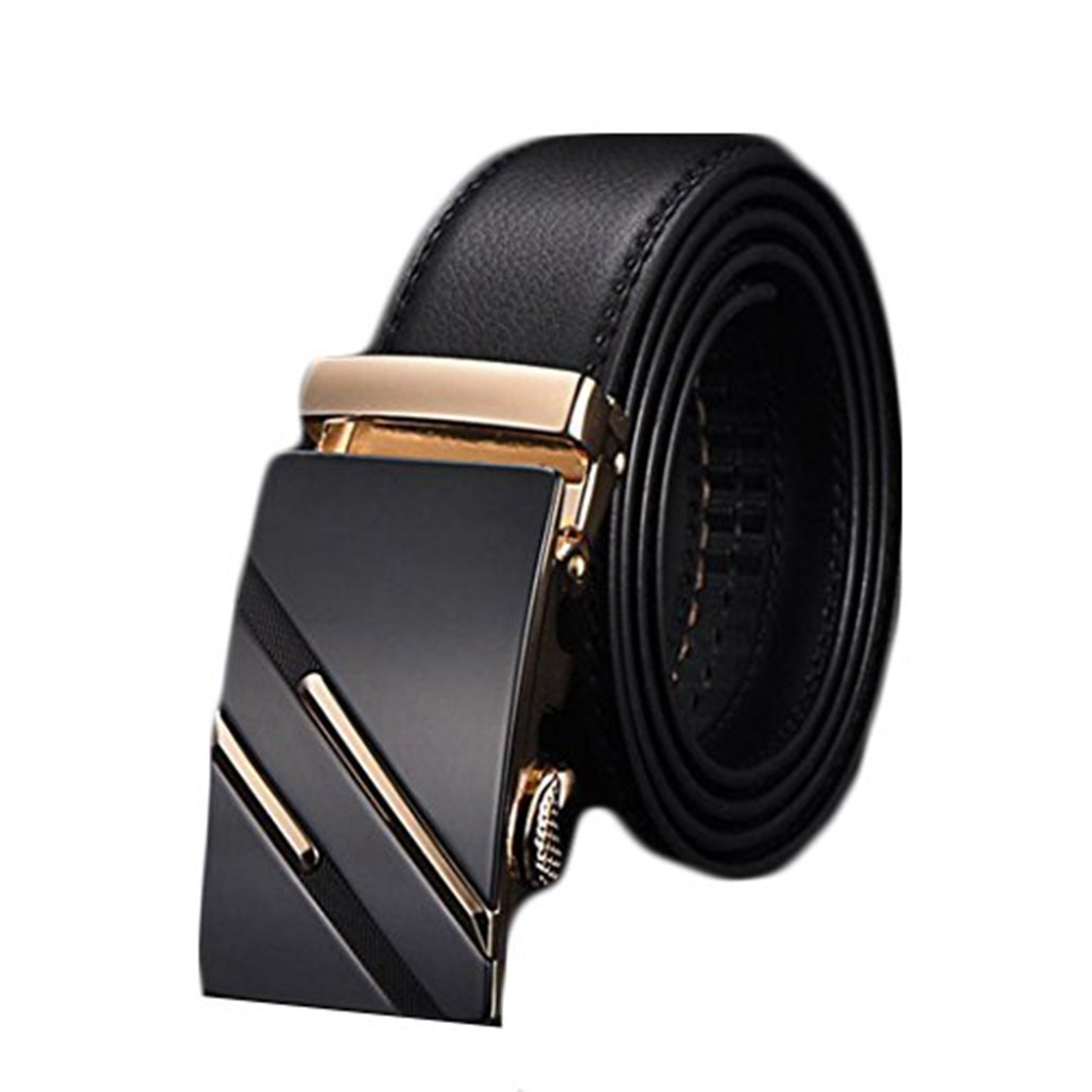 Mens Fashion Faux Leather Automatic Buckle Waist Strap Belt Gift Business Waistband