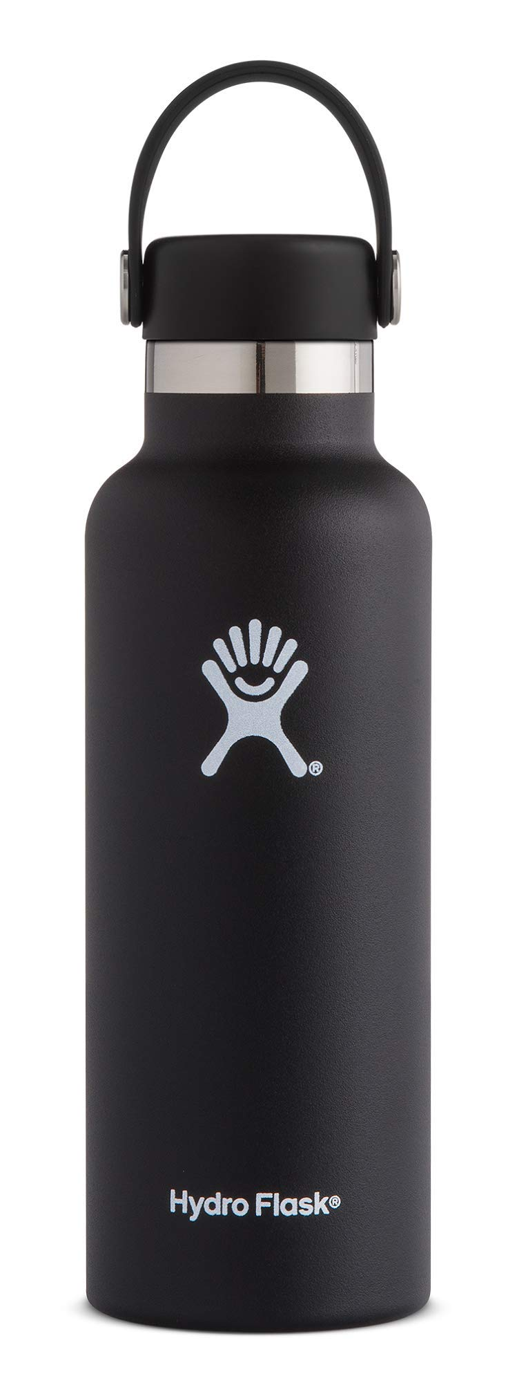 Hydro Flask 18 oz Double Wall Vacuum Insulated Stainless Steel Leak Proof Sports Water Bottle, Standard Mouth with BPA Free Flex Cap, Black by Hydro Flask