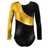 HUANQIUE Leotards for Girls Gymnastics Ballet Dance One-Piece Gold 12-14 Years