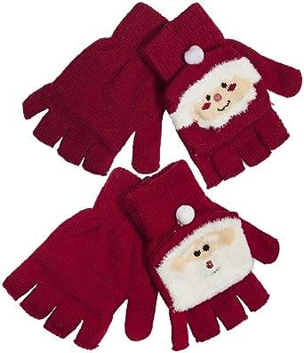 RJM Ladies Festive Christmas Mitten Cap Fingerless Gloves Red Santa