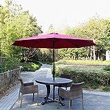 Peach Tree 10Ft Aluminum Outdoor Patio Umbrella with Crank and Tilt, Khaki/Burgundy/Blue (Burgundy)
