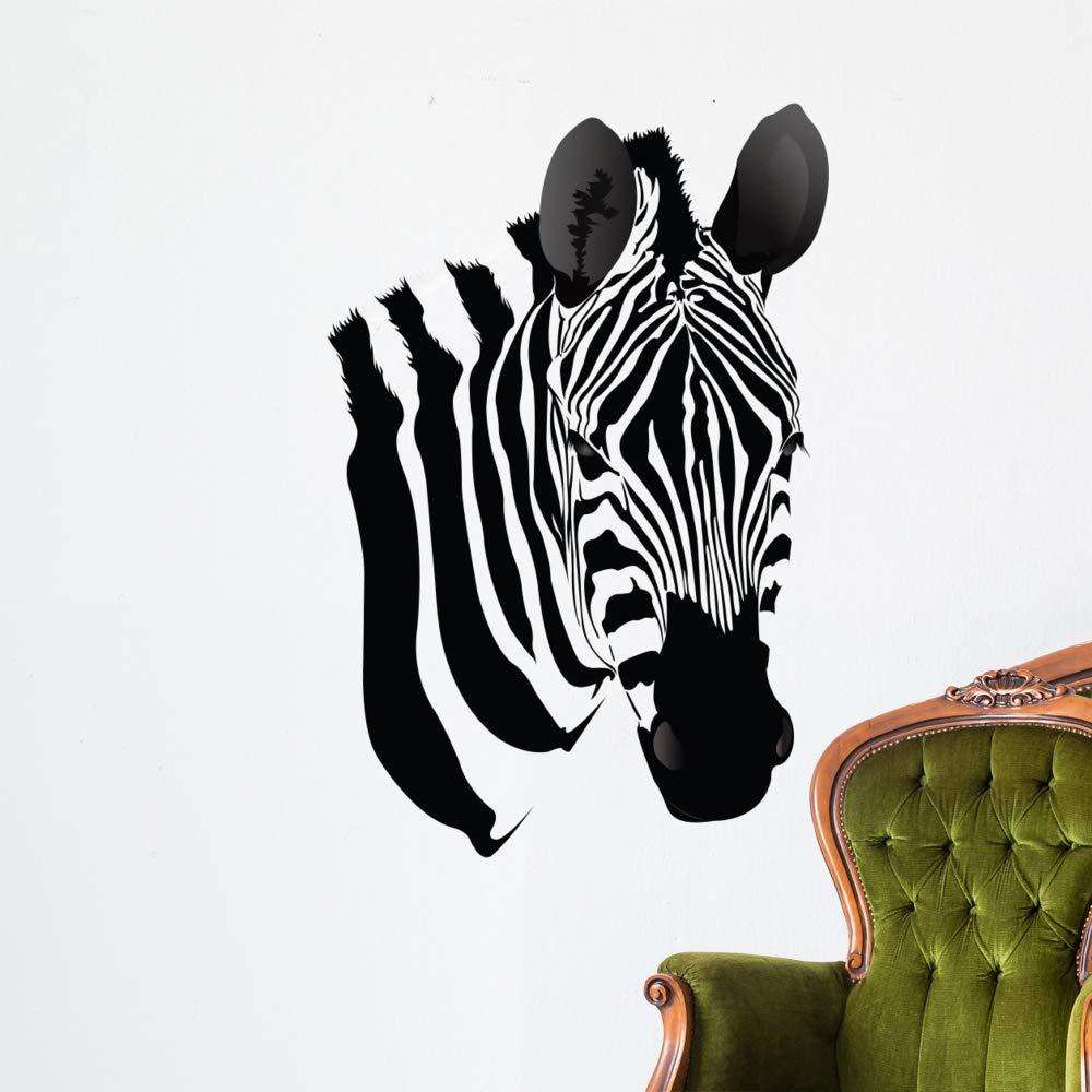 Wallmonkeys Zebra Head Wall Decal Peel and Stick Animal Graphics (48 in H x 39 in W) WM496985