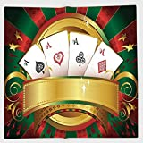 Cotton Microfiber Hand Towel,Poker Tournament,Gambling Fortune Wealth Playing Cards Hand Casino Roulette Winning Print Decorative,Multicolor,for Kids, Teens, and Adults,One Side Printing