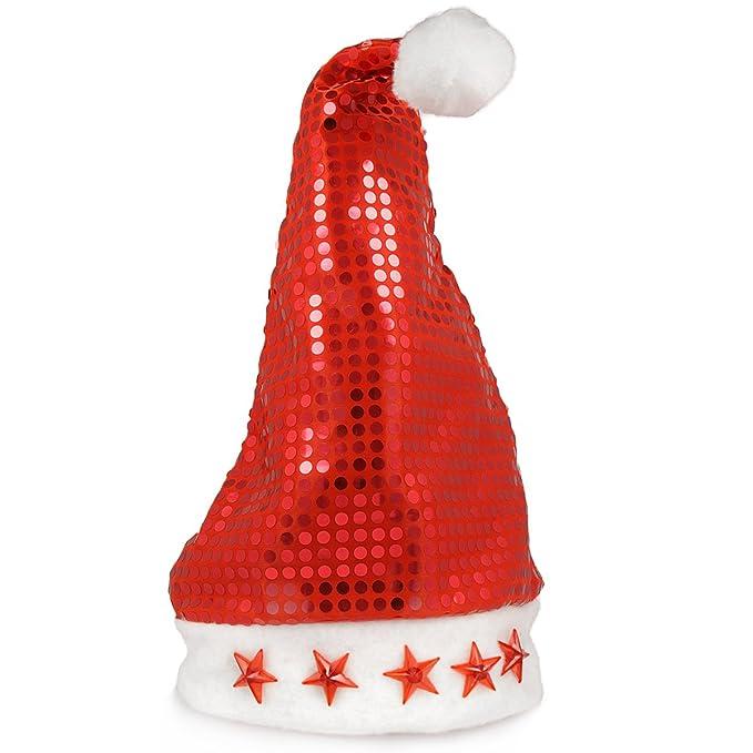 Vari Natale cappello e barba cappello - cappello Babbo Natale con LED  lampeggiante e stelle di Natale Babbo Natale cappello Paillettenmütze   Amazon.it  ... 93427cdfe575