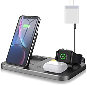 BYUEE 3 in 1 Wireless Charger with Night Light & USB Output Port, Charging Station Compatible with Apple Watch Series, Fast Wireless Charging Compatible with AirPods Pro, iPhone 12/11/X/8