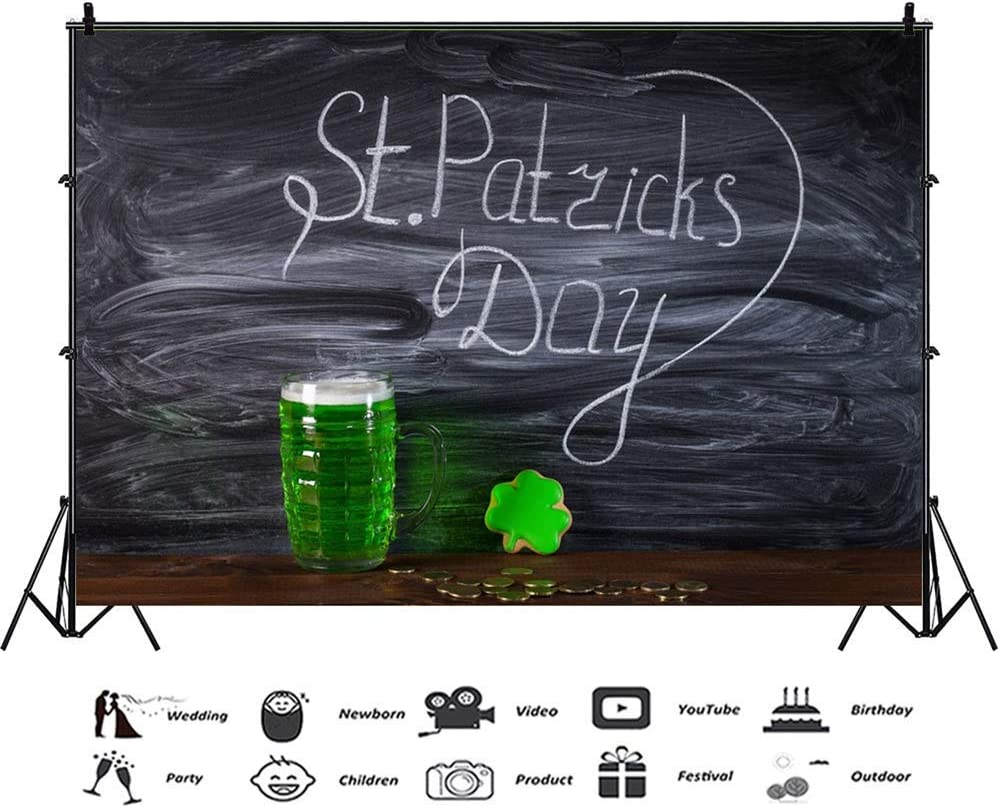 8x6.5ft Polyester St.Patricks Day Backdrops Old Blackboard Green Shamrock Beer Gingerbread Clover Gold Coins Rustic Wood Plank Background Child Adult Student Portraits Irish Festival Photo