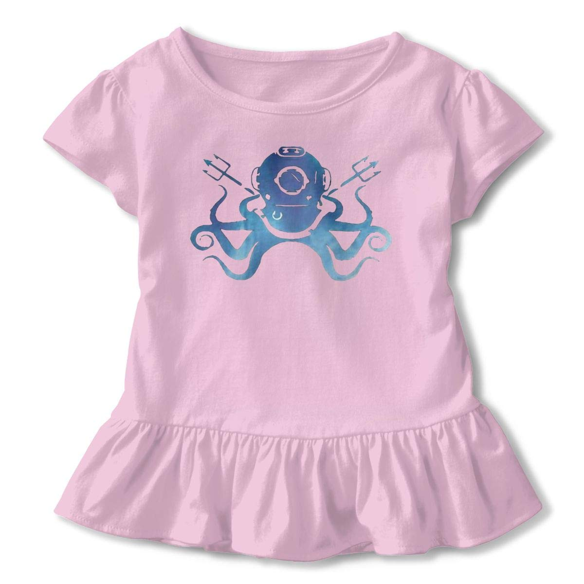 Octopus Toddler Girls Round Neck Ruffle Short Sleeves Top Tunic for Home School As Gift for Children
