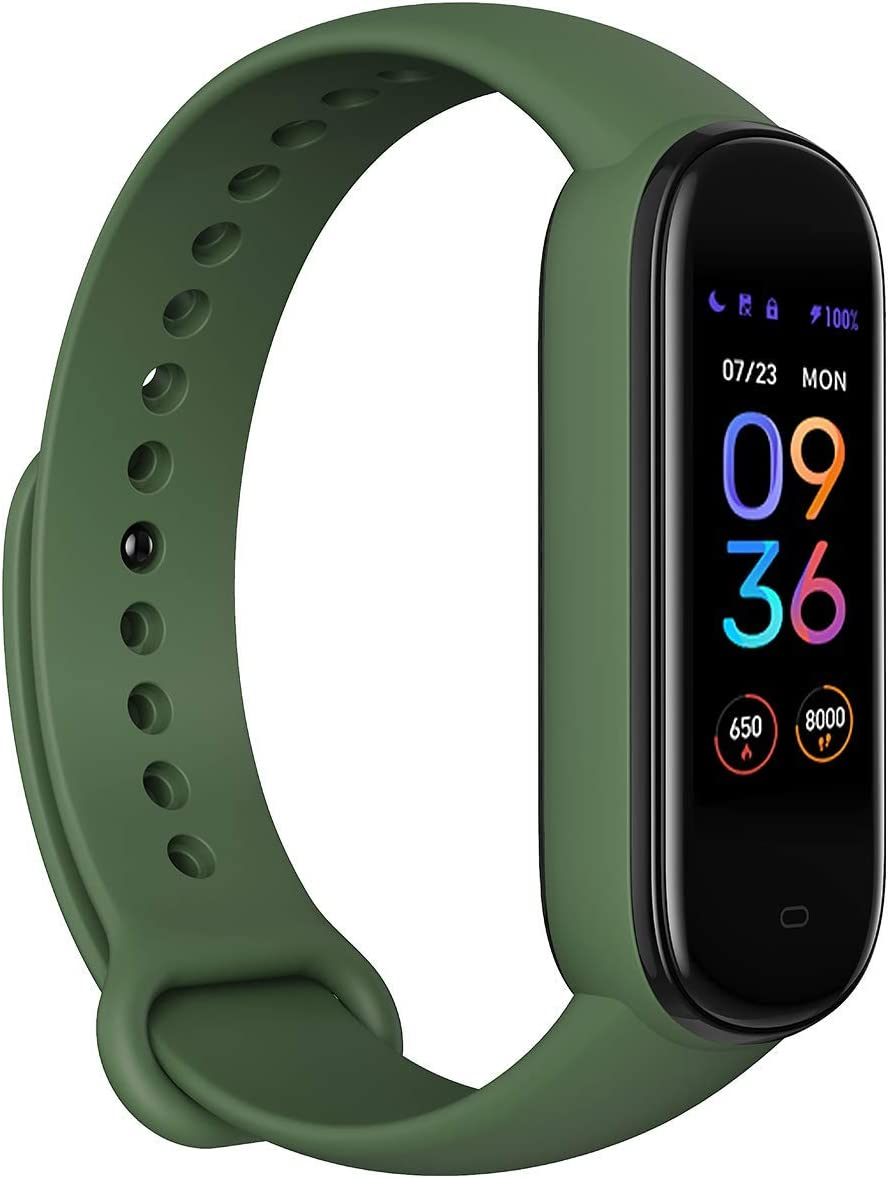 Amazfit Band 5 Fitness Tracker with Alexa Built-in, 15-Day Battery Life, Blood Oxygen, Heart Rate, Sleep Monitoring, Women's Health Tracking, Music Control, Water Resistant, Olive