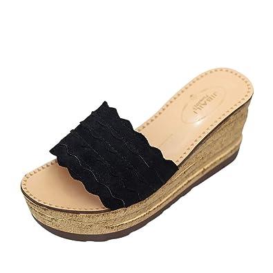 Damen Sommerschuhe Keilabsatz Dicke Shoes Bohemien Roman